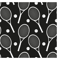 seamless texture with silhouettes of rackets and a vector image vector image
