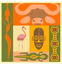 Set of african people animals and simbol elements vector
