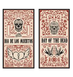 set of dead day banner template sugar skulls vector image vector image
