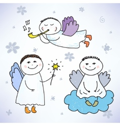 Set of hand drawn colorful cute angels vector
