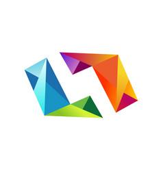 shape 3d colorful diamond logo vector image vector image