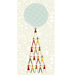Social media Christmas tree of people holding the vector image