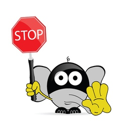 sweet and cute elephant with sign stop vector image