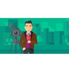 Tv reporter working vector