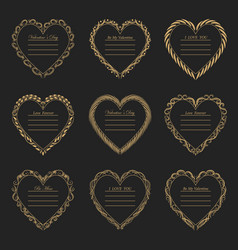 Valentine s day vintage frames on background vector