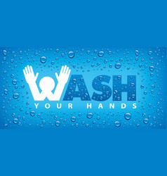 Wash your hands-blue background vector