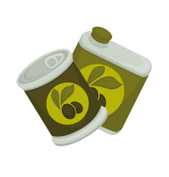 Iron and plastic banks with green emblem of olives vector
