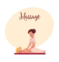 Young woman having relaxing back massage lying on vector