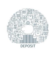 Bank deposit outline concept vector