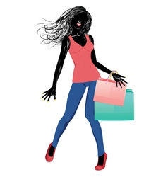 Silhouette of a shopping girl in casual wear2 vector