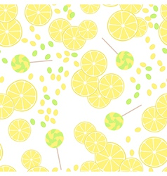 Seamless pattern of yellow lemon slices and candy vector