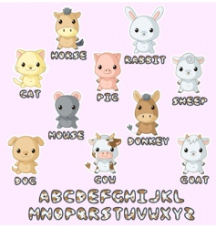 Farm animals hawaii set vector