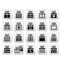 Present gift box buttons set vector
