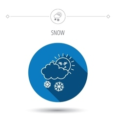 Snow with sun icon snowflakes with cloud sign vector