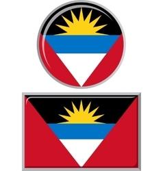 Antigua and Barbuda round square icon flag vector image