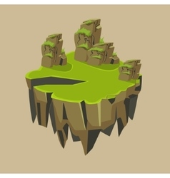 Cartoon stone grassy isometric island for game vector