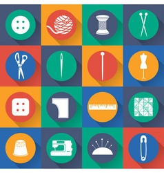 set icon of sewing in flat design vector image