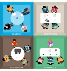 Business communications top view set vector