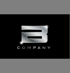 B silver metal letter company design logo vector