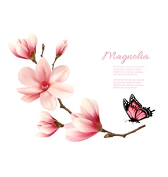 Beautiful pink magnolia branch with a butterfly vector