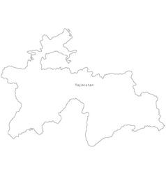 Tajikistan Black White Map Royalty Free Vector Image - Tajikistan map vector