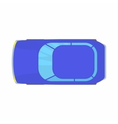 Blue car top view icon cartoon style vector image