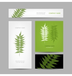 Business cards collection green leaf design vector image vector image