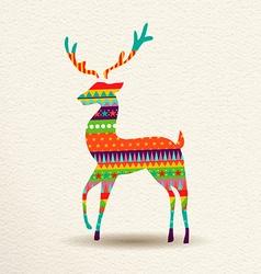 Christmas reindeer in fun geometric art style vector