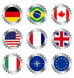 cogwheels with flags vector image vector image