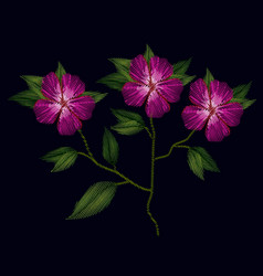 Colorful azalea flowers plant set embroidery in vector