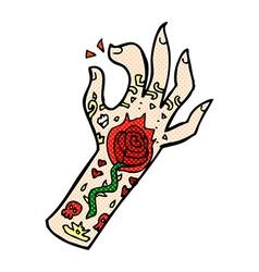 Comic cartoon tattoo hand vector