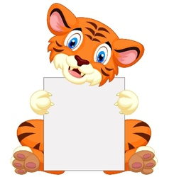 Cute tiger cartoon holding blank sign vector image