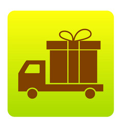 Delivery gift sign brown icon at green vector