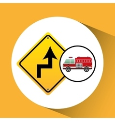 Fire truck with curve road sign vector