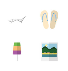 Flat beach set of sundae reminders beach sandals vector