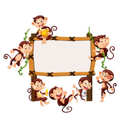 frame template with monkeys vector image vector image