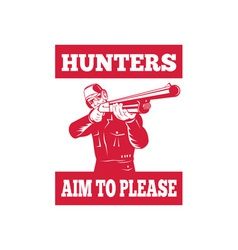 Hunter aiming a shotgun rifle front view vector