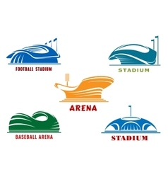 Icons of modern sport stadiums and arenas vector