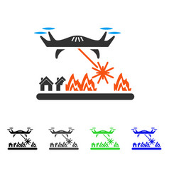 Laser drone attacks village flat icon vector
