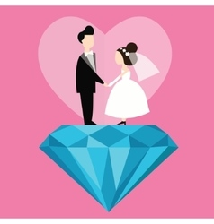 man woman married wedding bride cartoon with blue vector image vector image
