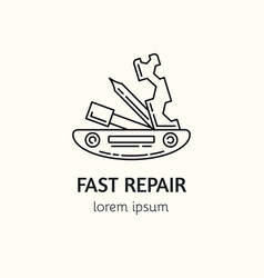Modern linear style bicycle repair logotype vector