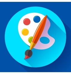 Paint brush with palette icon Flat design style vector image vector image