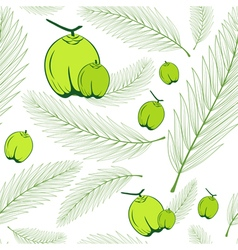 Palm leaves and coconut fruit green seamless vector