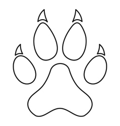 Paw print icon outline style vector