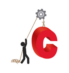 Person with pulleys hanging the c symbol vector