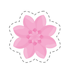 Pink flower garden decoration color cut line vector