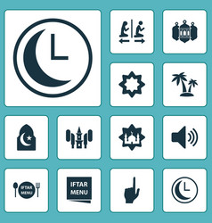 Religion icons set collection of tree bullhorn vector
