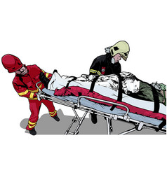 Rescuers and saved man on stretcher vector