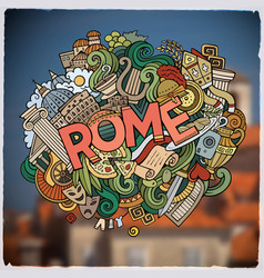 Rome hand lettering and doodles elements and vector