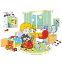 schoolboy completing his schoolbag vector image